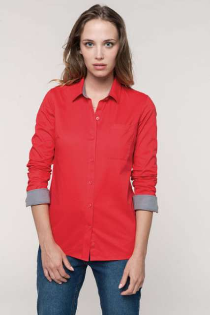 LADIES' NEVADA LONG SLEEVE COTTON SHIRT - ka585 1 - Cérnavarázs
