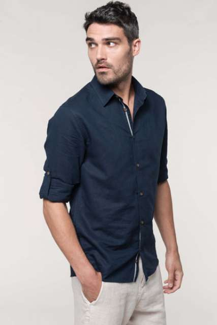MEN'S LONG SLEEVE LINEN AND COTTON SHIRT - ka588 1 - Cérnavarázs