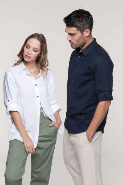 MEN'S LONG SLEEVE LINEN AND COTTON SHIRT - ka588 2 - Cérnavarázs