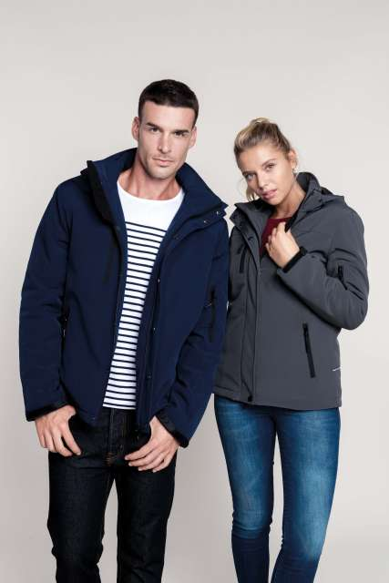 LADIES' HOODED SOFTSHELL LINED PARKA - ka651 1 - Cérnavarázs