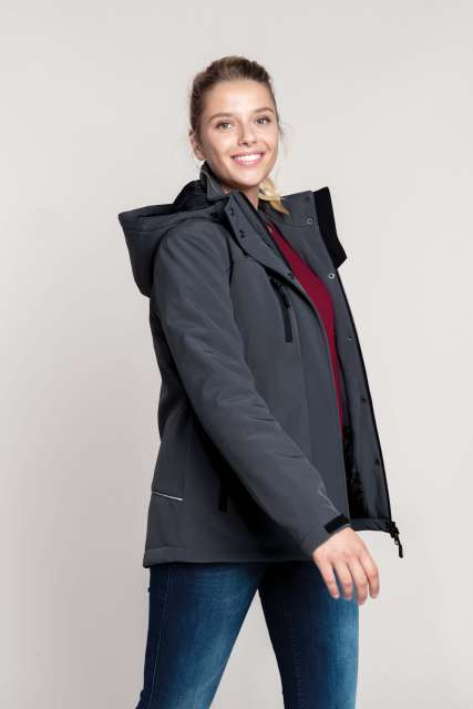 LADIES' HOODED SOFTSHELL LINED PARKA - ka651 2 - Cérnavarázs