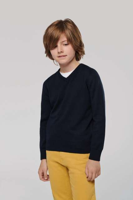 KIDS' V-NECK JUMPER - ka9109 1 - Cérnavarázs