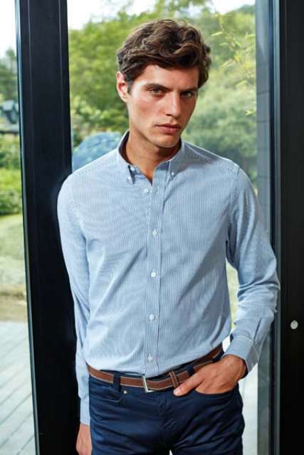 MEN'S COTTON RICH OXFORD STRIPES SHIRT - pr238 8 - Cérnavarázs