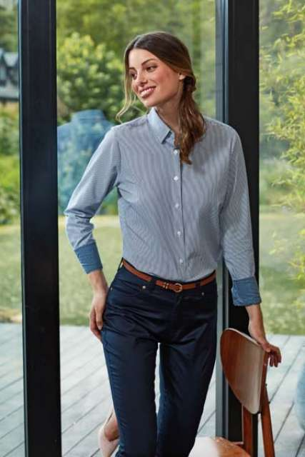 WOMEN'S COTTON RICH OXFORD STRIPES SHIRT - pr338 1 - Cérnavarázs