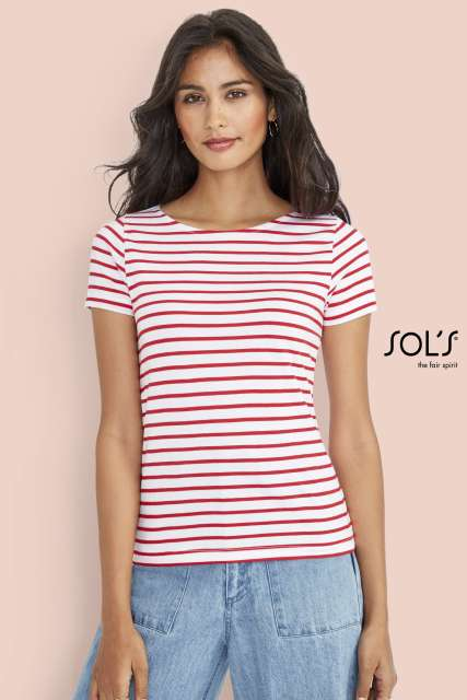 MILES WOMEN - ROUND NECK STRIPED T-SHIRT - so01399 2 - Cérnavarázs